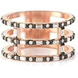 Band ring with baguette stones - Rose gold vermeil - UK Size L