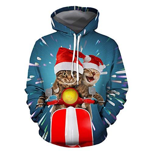 serliyWeihnachtspullover Pullover Weihnachten Pulli Herren Kapuzenpullover Hoodie Sweatshirt Weihnachts Sweater Hässlicher Weihnachtspullis Rentier Christmas Jumper Damen Lustige Winterpullover
