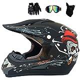 Fire wolf:Motocross-Helm-Kit Profi-Motorradhelm-Set Road Race Off Road-Helm Unisex-Vollvisierhelm für Erwachsene mit Schutzbrille, Handschuhen, Maske: B/L