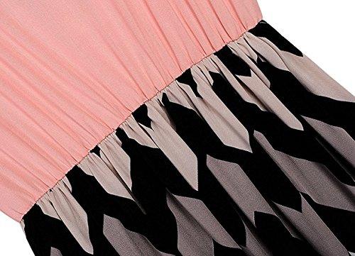 Tkiames Damen Sommerkleid Strandkleid Lang Rundhals High Waist Striped Sleeveless Beach Boho Kleid Partykleid Cocktailkleid Rosa3