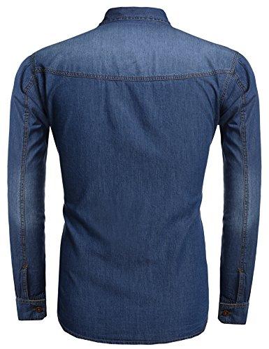 ZEARO Mode Homme Chemise En Jean Habillée Slim Fit Cool Polo Tee-shirt Manche longue Avec Deux Poches Décontracté Bleu clair