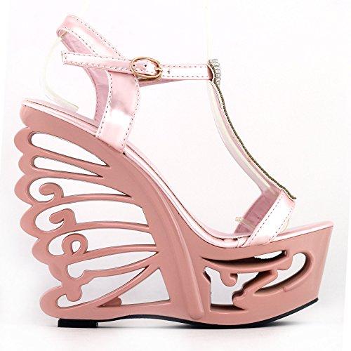 Voir l'établissement histoire Glitter T bracelet mariée mariage papillon talon sandales compensées, LF51803 bébé rose