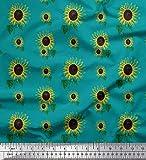 Soimoi Grun Kunstseide Stoff Blätter und Sonnenblumen