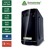 Sanaavay I3 Desktop PC - Intel Core I3 3rd Gen, 8GB Ram, Windows 10 Pro, 1TB HDD, MS Office, DVD, WiFi, IBall Cabinet