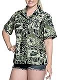 LA LEELA Hawaii-Hemd Blusen-Taste nach unten entspannt Frauen mit kurzen Ärmeln Lager schwarz XXL