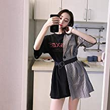 fbebd45b3f DioKlen - Ins Lattice Stitching Falso Vestido de Dos Piezas con Letras Ropa  de Mujer Japón