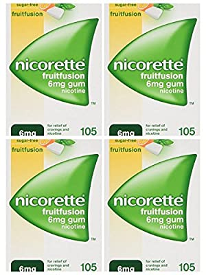4X Nicorette FRUITFUSION GUM 6 mg 105 Pieces Nicotine for Smoking Cessation by nicorette