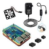 4 en 1 Doble fresco Raspberry Pi 3 Model b Kit ,Caja ,5V 3A adaptador de corriente alimentación Cargador , disipador de calor , ventilador (Mulit-color)