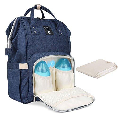Baby Wickelrucksack Wickeltasche mit Wickelunterlage Multifunktional Oxford Große Kapazität Babytasche Kein Formaldehyd Reiserucksack für Unterwegs (Marine blau) (Best Marine)