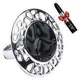 ANTONIO MIRÓ Anillo Ajustable Plateado con Piedra preciosa Negra circular - Sortija Elegante con lo