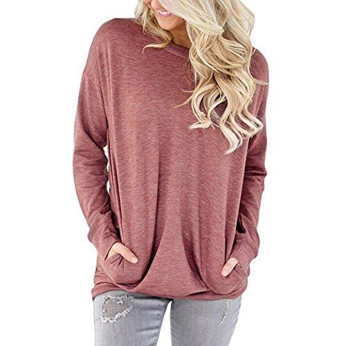 Damen Langarm Shirt Sunday Lässig Baumwolle Solide Lose Taschen T-Shirt Blusen Tops (Rot, L) (Tasche T-shirt Rotes)