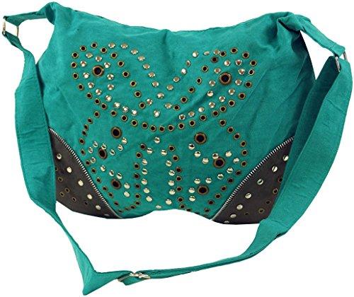 Guru-Shop Schultertasche mit Nieten Bali, Herren/Damen, Kunstfaser, 27x36 cm, Alternative Umhängetasche, Handtasche aus Stoff Grün