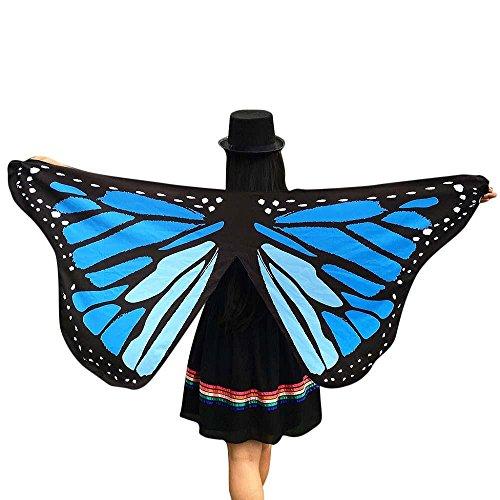 Amcool Schön Schmetterlings Flügel ✿✿ Schmetterling Kostüm Chiffon Schals Feenkostüm Damen Karneval Cosplay Accessoires (145*65CM, Blau (Kostüm Blauer Schmetterling Flügel)