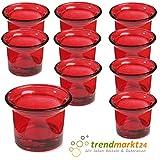 trendmarkt24 Teelichtglas-Set Rot ✓ 10er Set ca. 6,5 x 4,5 cm groß ✓ Windlicht-Glas Teelichtgläser | Teelicht-Halter Set ✓ Hochzeits Tischdeko/Geburtstags Deko 37501811
