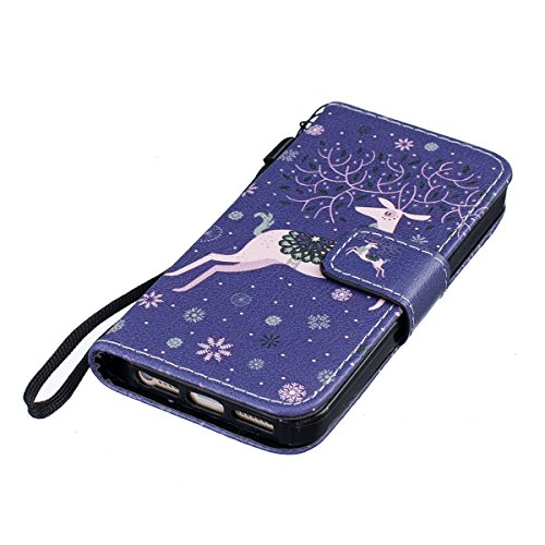 Custodia iPhone 5S,SainCat Custodia in pelle Protettiva Flip Cover per iPhone SE,Anti-Scratch Protettiva Caso Elegante Creativa Dipinto Pattern Design PU Leather Flip Ultra Slim Sottile Morbida Portaf neve Deer