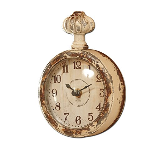 Loberon Uhr Wido, Metall/Glasabdeckung, H/B/T ca. 17/12 / 5 cm, Creme