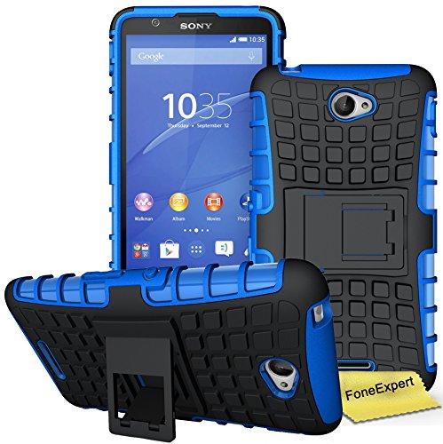 Xperia E4 Handy Tasche, FoneExpert® Hülle Abdeckung Cover schutzhülle Tough Strong Rugged Shock Proof Heavy Duty Case für Sony Xperia E4 + Displayschutzfolie (Blau)