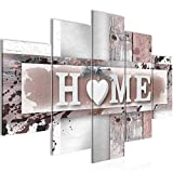Bilder Home Herz Wandbild 150 x 100 cm Vlies - Leinwand Bild XXL Format Wandbilder Wohnzimmer Wohnung Deko Kunstdrucke Braun 5 Teilig - MADE IN GERMANY - Fertig zum Aufhängen 504553b