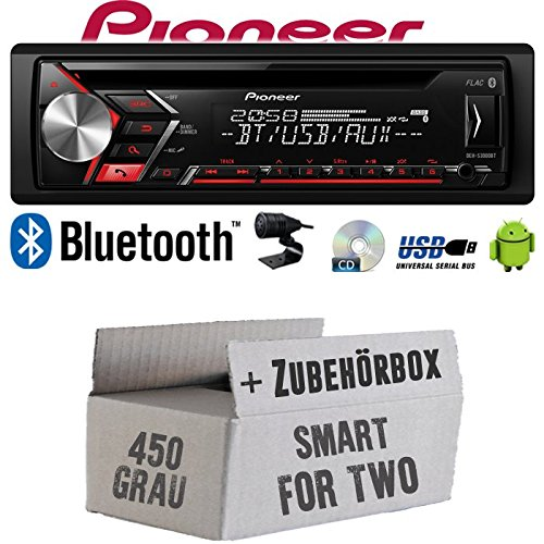 Autoradio Radio Pioneer DEH-S3000BT - Bluetooth | CD | MP3 | USB | Android Einbauzubehör - Einbauset für Smart ForTwo 450 grau - JUST SOUND best choice for caraudio