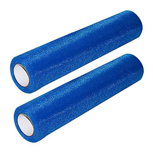 Rotolo tulle blu scuro (confezione da 2)-2x25 metri, larghezza 30 cm-bobina tessuto organza per velo nuziale, abiti da sposa, fusciacca, gonne tutù, runner, decorazione matrimonio e banchetto festa