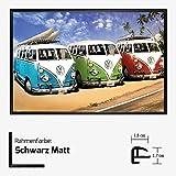 Kunstdruck Poster - VW Camper Bullis Bulli Bus Blau Grün Rot Blue Green Red Volkswagen 61 x 91,50 cm mit Kunststoff-Bilderrahmen & Acrylglas reflexfrei, viele Farben zur Auswahl, hier Schwarz Matt