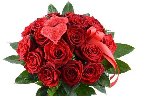 Blumenversand - Blumenstrauß - I Love You/Ich liebe Dich - mit 15 roten Rosen Red Naomi - mit Grußkarte Deutschlandweit verschicken