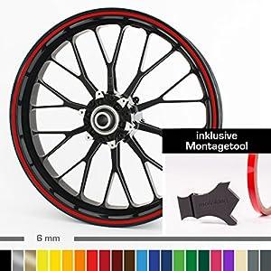 Motoking Felgenrandaufkleber mit Montagetool für Ihr Motorrad / 6 mm / für 10