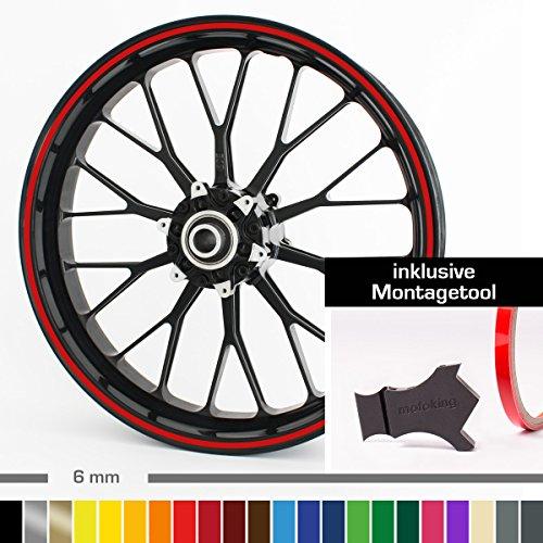 Motoking Felgenrandaufkleber mit Montagetool für Ihr Motorrad / 6 mm / für 10' bis 25' / Farbe wählbar - Türkis glänzend