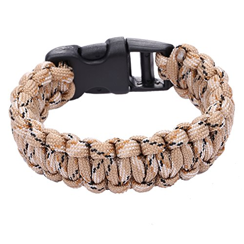 DonDon® Herren Survival Outdoor Nylon Armband geflochten - tarnfarbe sand