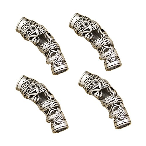 RechicGu Pack 4 nordischen Viking Dragon Bart Bead Rasta Dreadlocks Braid Haar Kopf Kleid Clip Pin