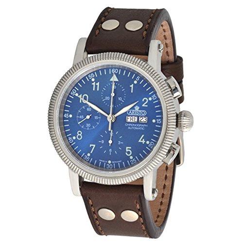 Aristo Cronografo Automatico Uomo Orologio da polso 4h86blb ETA valjou x7750cinturino in pelle marrone