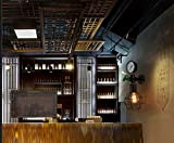 noulerd Selbstinstallation Wall Lampiron, Bar Storedustry Lampen Wanddekoration Lightg Nachttischlampe Pavillon Zimmer Lounge Schrankwand 39 * 15Cm Retro E27 Wandabstand 15Cm Mode,39 * 15 cm