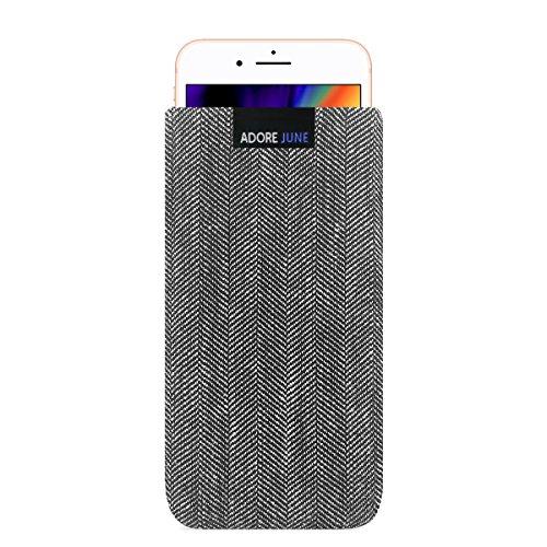 Adore June Business Tasche für Apple iPhone 8 Handytasche aus charakteristischem Fischgrat Stoff - Grau/Schwarz | Schutztasche Zubehör mit Display Reinigungs-Effekt | Made in Europe -
