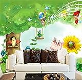 Wemall 3DNon-Woven Schöne und frische Kinderzimmer Wandbild Hintergrundbild Kinder Moderne Cartoon Ziegelmauer Cartoon, 430x300 cm (169,3 by 118,1 in)
