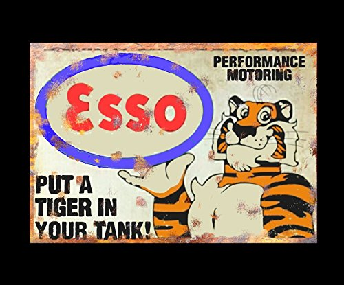 Image of: Gambar Esso Tiger Performance Motor Oil Petrol Tyres Shed Workshop Garage Dad Grandad Metal Sign Vintage Retro Artsy Tiger Motor The Best Amazon Price In Savemoneyes
