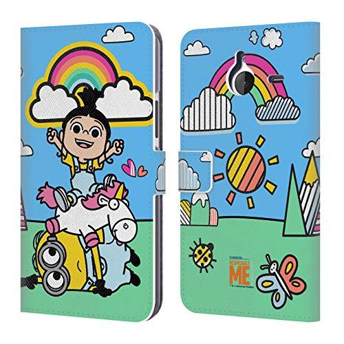 Head Case Designs Offizielle Despicable Me Agnes, Minion Bob Und Einhorn Es Ist So Kuschelig Leder Brieftaschen Huelle kompatibel mit Microsoft Lumia 640 XL/Dual SIM