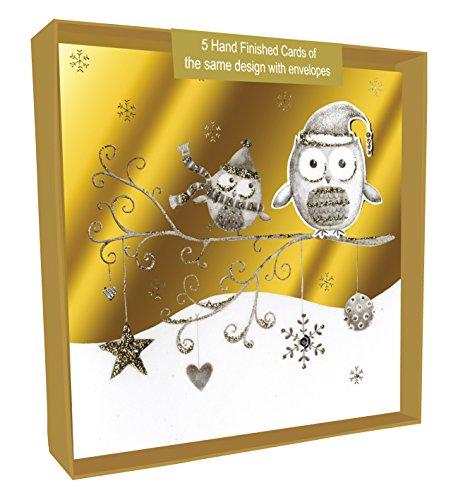second-nature-buhos-hechas-a-mano-tarjeta-de-navidad-en-caja-paquete-de-5