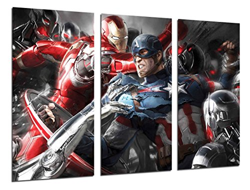 Cuadro Moderno Fotografico Superheroe, America, Iron man, 97 x 62 cm ref. 26300