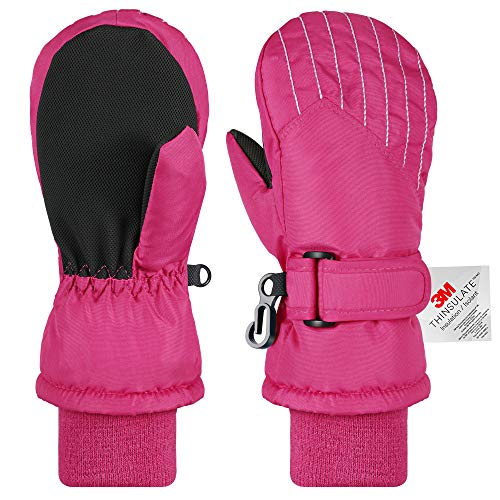 Andake Kinderhandschuhe, 3M Thinsulate Warme Winterhandschuhe Wasserdicht Winddicht Handschuhe für Skifahren, Spielen, Outdoor-Aktivitäten (Jungen und Mädchen, Pink-M)