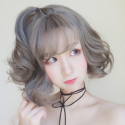 perruque fille/Perruque granny grise courte/ air frange avec des cheveux bouclés/Simulation des perruques naturelles-A
