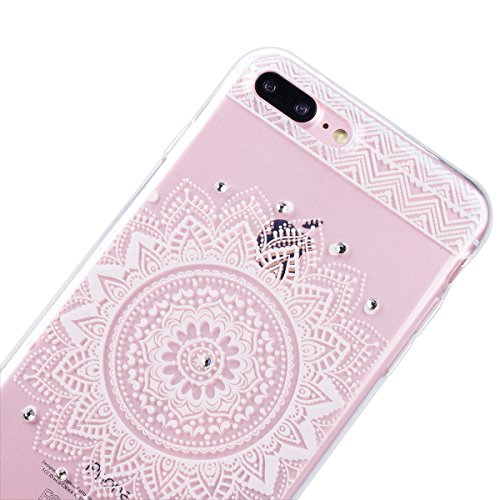 "WE LOVE CASE iPhone 7 Plus 5,5"" Hülle Weich Silikon iPhone 7 Plus 5,5"" Schutzhülle Handyhülle Im Durchsichtig Transparent Crystal Clear Diamant Glitzer Funkeln Mandala Muster Handytasche Cover Case Et Mandala"