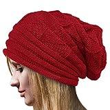 OYOSEH Damen Winter Häkelarbeit Hut Wollknit Beanie Warme Kappen Falten Mütze (Rot,Einheitsgröße)