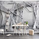 Papel Tapiz Mural Personalizado Arte Moderno Bosque Blanco Y Negro Salón Tv Decoración De Fondo Pintura De Seda 3D Decoración Para El Hogar 1㎡(100X100Cm)