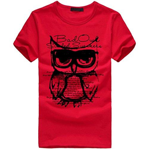 Amlaiworld Sommer-Tierdruck-T-Shirt Oberseite, Kühles und Buntes T-Shirt, T Kurze Regelmäßige Hülse (XXL, Rot)