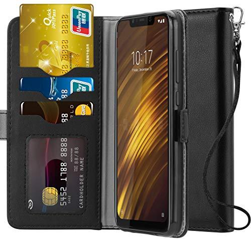 Ferilinso für Xiaomi Pocophone F1 Hülle, Elegantes Echtes Leder mit ID Kreditkarten-Slots Halter Flip Cover Stand Magnetic Closure Case für Xiaomi Pocophone F1 (Schwarz) -