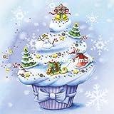 Nina Chen Postkarte 140x140mm ~ Cupcake ~ Weihnachten