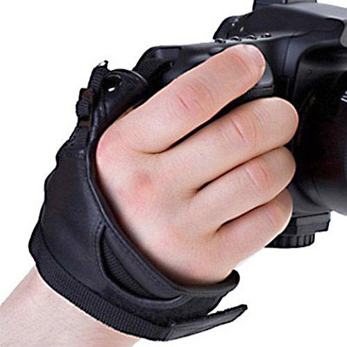 Delamax Cinturino in pelle per tutte le fotocamere SLR e DSLR Nikon, Sony Alpha, Minolta, Pentax, Sigma, Olympus e molte altre ancora.