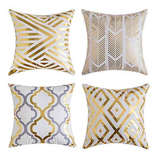 Gspirit 4 Stück Kissenbezug Heißprägen Geometrie Dekorative Kissenhülle Baumwolle Leinen Werfen Sie Kissenbezüge 45x45 cm