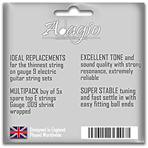 Pack Of 5 X 009 E Adagio Single Spare Electric Guitar Strings .009 Gauge 9