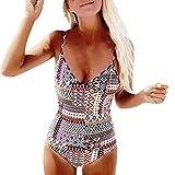 Amlaiworld sommer bunt geometrie drucekn badeanzüge strand V-Ausschnitt bademode band damen badeanzüge retro sport Beachwear mode push up Bikini (L, Weiß)